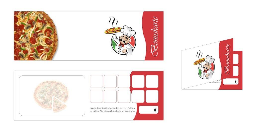 Premium Pizza Bonuskarten-Set (400 Stk.) mit 10 Stempelfeldern. Treuekarten passend für Bereiche wie Gastronomie, Restaurant, Pizzaria, Getränkehandel, Freizeit, Feier, Geschenk, Gaststätte und vieles mehr Getränkehandel Drucksachenversand.de