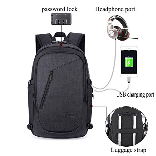 Upgraded Laptop Backpack with USB Charging Port and Lock& Headphone Port School College Business Bag Rucksack with Luggage Strap for 12-16