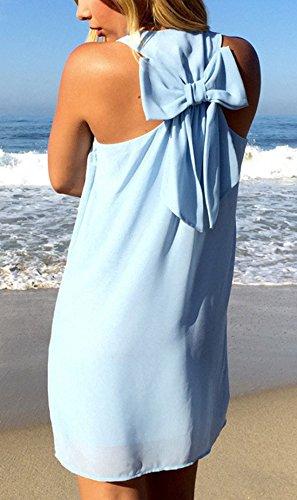 Sin Cuello Vestido Backless de Moño Sexy Mangas Verano Moda Partido Vestidos de Smalltile Playa Mini Mujeres U Corbata Cóctel Casual de xqnXtpOwU1