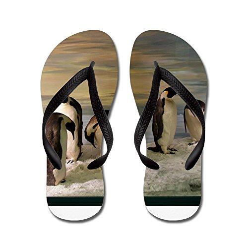 Cafepress Penguins - Chanclas, Sandalias De Tanga Divertidas, Sandalias De Playa Negras