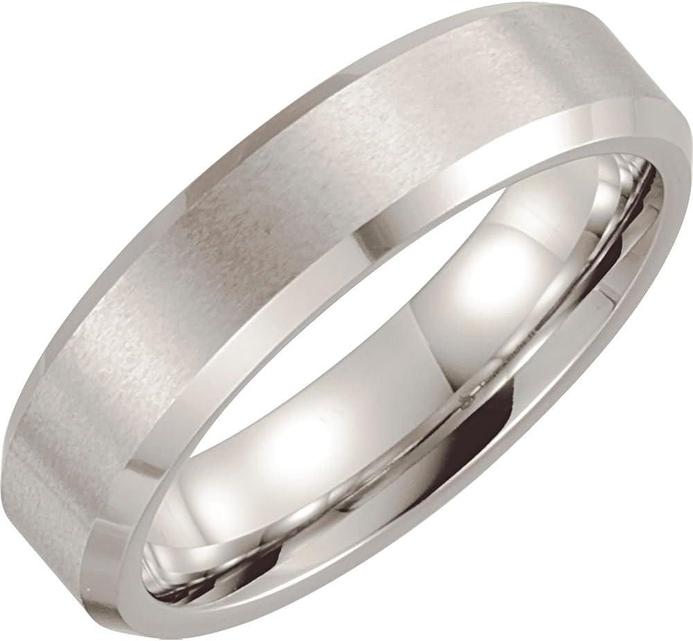 Ring Size 9 Cobalt 6mm Satin Finish Beveled Band Size 9