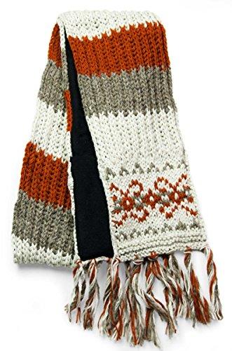TCG Women's Hand Knit Wool Vintage Pattern Scarf - Cinnamon & Cream (Wool Vintage Scarf)