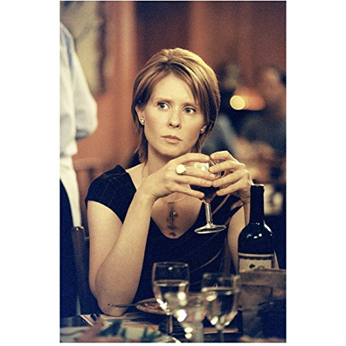 Sex and the City 8x10 Photo Cynthia Nixon Seated Black Dress Holding Red Wine Glass kn