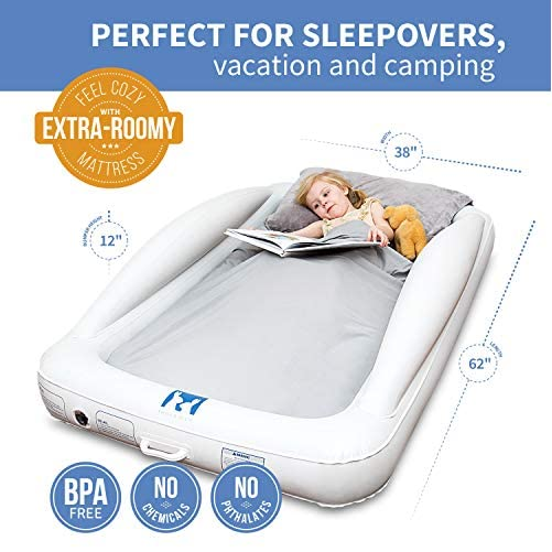 Emma + Ollie Inflatable Toddler Bed with Bed Rails - Portable Travel Blow Up Air Mattress with Safety Bumpers - Perfect for Home, Travel, Camping, Grandparents (Includes Electric Pump) 6