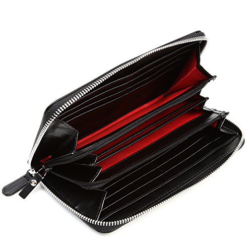 Lustear Women's Zip Around Long Wallets With Zipper Coin Purse (Black×Red) by Lustear (Image #1)