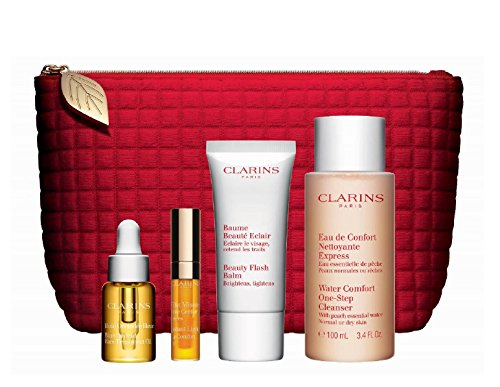 Clarins Gift Set & Red Travel Pouch with: Water Comfort One Step Cleanser, Beauty Flash Balm, Blue Orchid Face Oil & Instant Light Lip Comfort Oil
