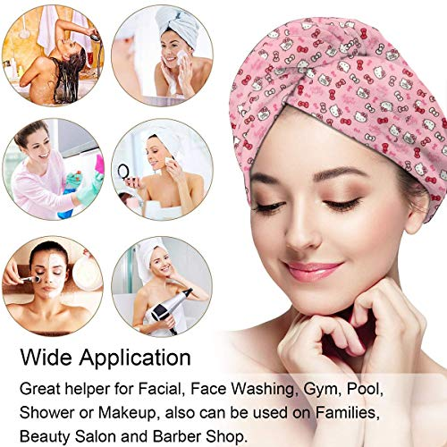 Hair Towel Wrap Turban Hello Kitty Microfiber Drying Bath Shower Head Towel With Button, Dry Hair Hat
