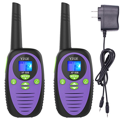 YZGE Walkie Talkies Two Way Radios 2 Packs 22 Channel 3000M (MAX 5000M Open Field) Long Range Handheld Walkie Talky Carry Charger ( Purple,Pack of 2,Batteries Not Included )