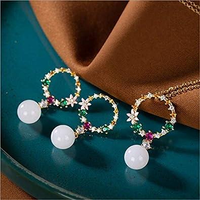 FUKAI Simple Feo Cristales De Colores Guirnalda Conjuntos De Joyas para Mujeres Bolas De Jade Naturales Collares + Pendientes Real 925 Joyería De Plata