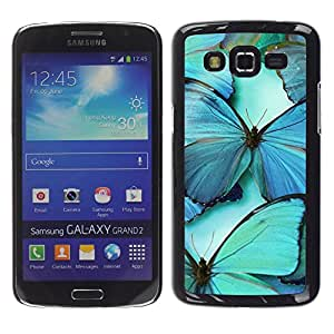 LECELL--Funda protectora / Cubierta / Piel For Samsung Galaxy Grand 2 SM-G7102 SM-G7105 -- Teal Blue Nature Insect Wing --