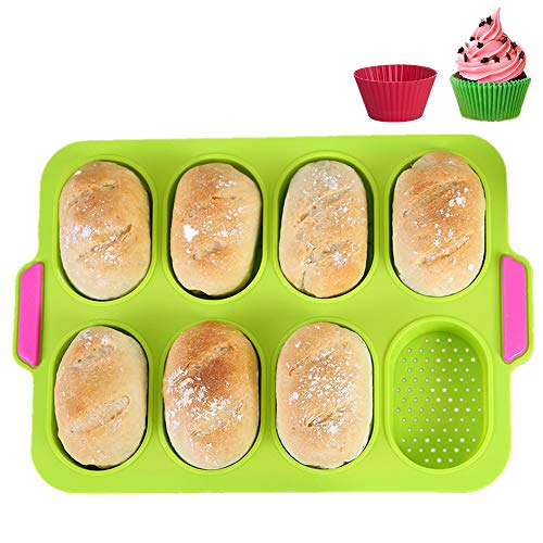 KeepingcooX Mini Baguette Baking Tray, 11 x 9.5 In, Non-stick Perforated Pan - Bread Crisping Tray, Loaf Baking Mould, French-bread, Breadstick and Bread Rolls with Delicious Crispy Crusts, Green