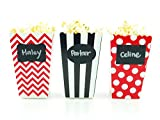 Pirate Party Popcorn Boxes & Black Label Chalkboard Vinyl Stickers (36 Pack) - Skeleton Skull Pirate Party Favors, Miniature Movie Theatre Pirates Popcorn Tubs for Boys Pirate Birthday Party Supplies