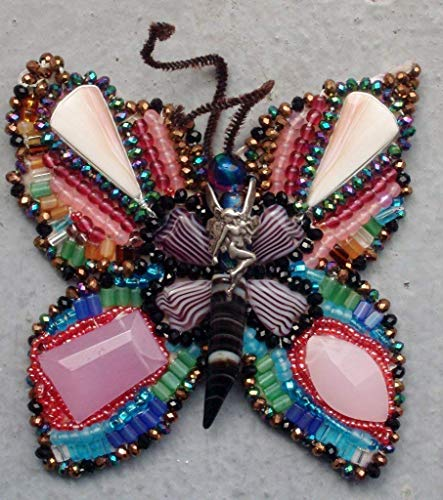 (Nude Fairy Riding a Beaded Butterfly Pendant/Brooch Vintage Sterling Silver Winged with over 700 Glass Beads, Crystals, Natural Stones, )