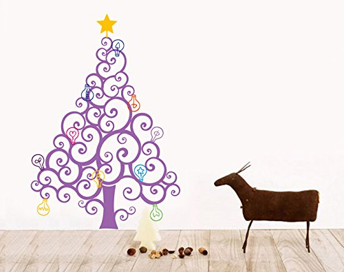 Christmas Tree with Colorful Bulbs Pop Decors PT-0196-Vd Beautiful Wall Decal