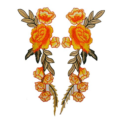 Ximkee 1 Pair Rose Sew Iron on Applique Embroidered Patches-Orange