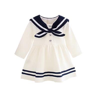88bb5295cf7ef ベビー服 女の子 ベビー ワンピース 70 cm 長袖 セーラー 子供服 キッズ ドレス ホワイト 白 綿