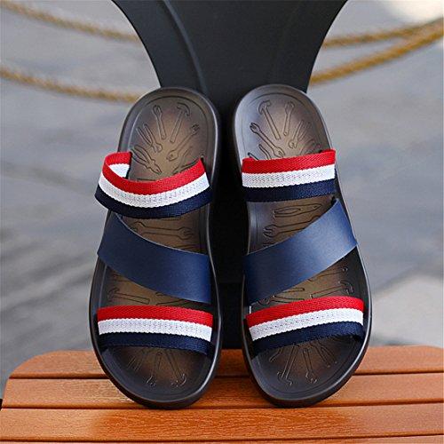 Heren Outdoor Lederen Zomer Strand Lederen Casual Slippers Bl1188 Blauw