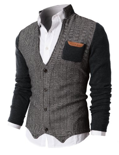 H2H Mens Herringbone Cardigan Sweater of Knitted Sleeves Charcoal US XL/Asia XXL (KMOSWL015)