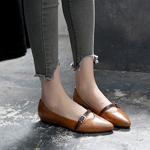 FUFU 1CM Zapatos de mujer Heel Pointed Toe Flats Al aire libre/Oficina y Carrera/Casual Negro/Amarillo/Beige (Color : Beige, Tamaño : EU37/UK4-4.5/CN37) Amarillo
