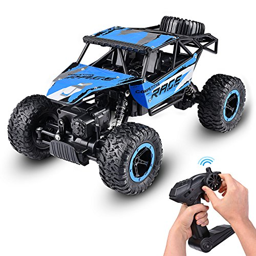 Abco Tech 1:14 RC Jeep Rock Crawler Monster Truck Remote Car Dune Racer – Nickel Cadmium Battery AA - 4 WD Electric RC – Powerful Motor with Built-in Rechargeable Battery – 50 m Control Distance