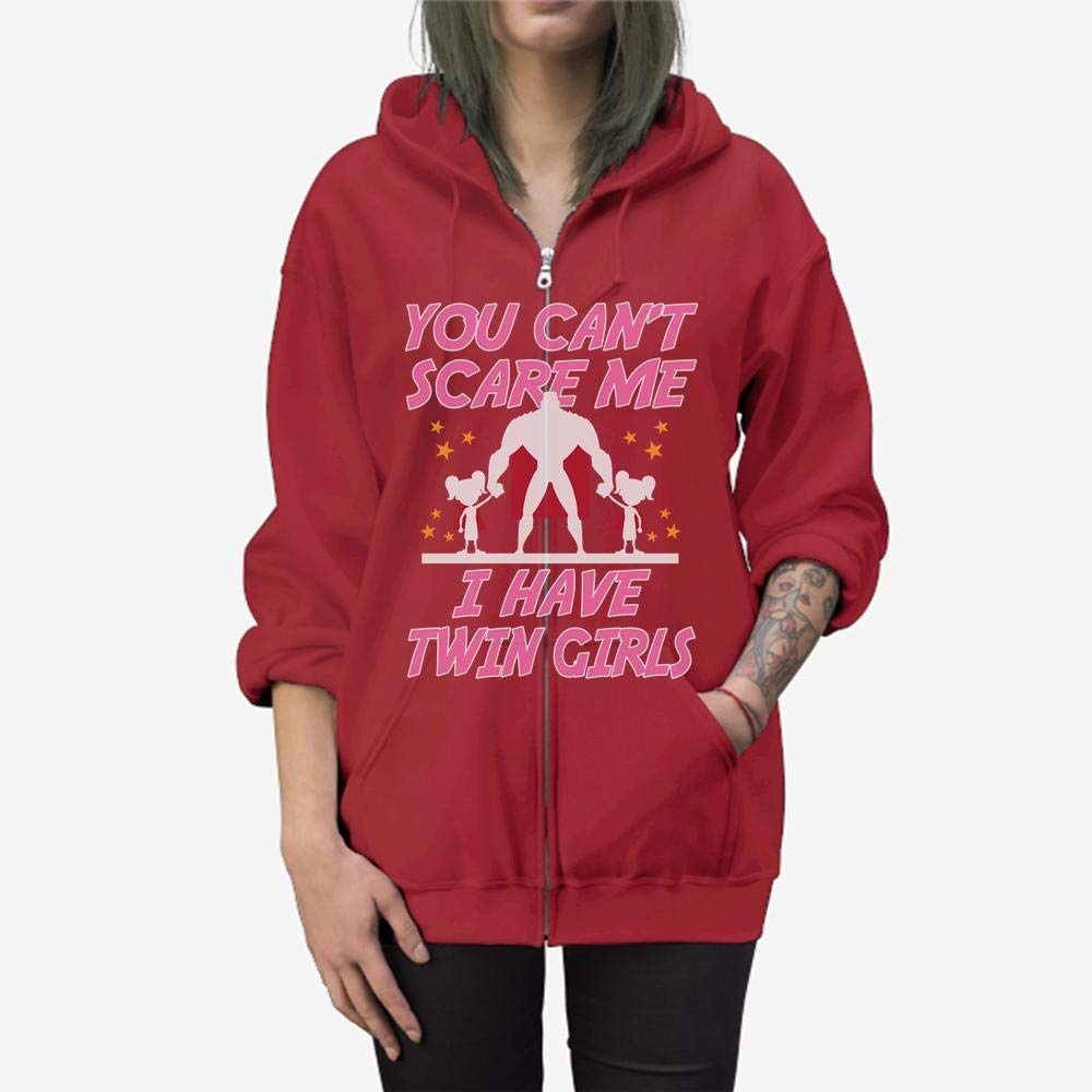 Funny Gift Birthday Awesome Tee You Cant Scare Me I Have Twin Girls Zip Hooded Sweatshirt