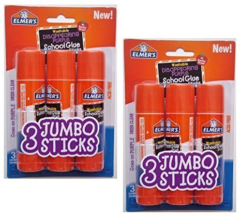 Elmers Jumbo Disappearing Purple School Glue Stick, 1.4 Ounce, 2 Packs of 3 Sticks, 6 Sticks Total by Elmer's