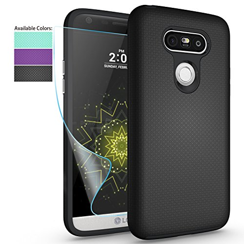 NiuBox LG G5 Phone Case with HD Screen Protector, Slim Fit Dual Layer Armor [PC + TPU Hybrid] Anti-Slip Shock Absorption Protective Phone Case Cover for LG G5 (T-Mobile,Unlocked,Verizon) - Black