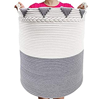 """TerriTrophy XXXL Large Laundry Hamper with Handles Tall Basket Cotton Rope Basket 22""""x16""""x 16"""" Woven Laundry Basket Blanket Storage Baskets for Towel, Throws, Toys, Diaper, Hamper"""