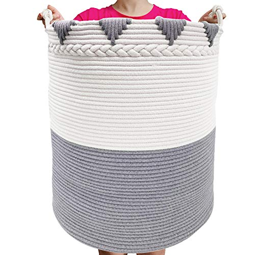 "TerriTrophy XXXL Large Laundry Hamper with Handles 22""x16""x 16"" Tall Basket Cotton Rope Basket Woven Laundry Basket Blanket Storage Baskets for Towel, Throws, Toys, Diaper, Hamper"