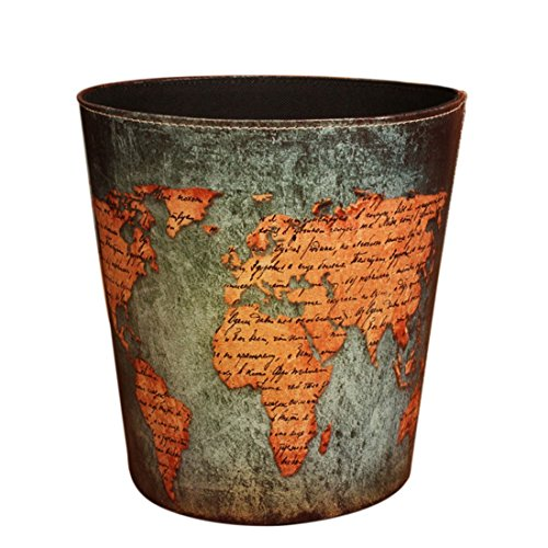 Wastebasket, Samyoung European Style World Map Pattern PU Leather Paper Basket Trash Can Dustbin Garbage Bin. (Old Woven Baskets)