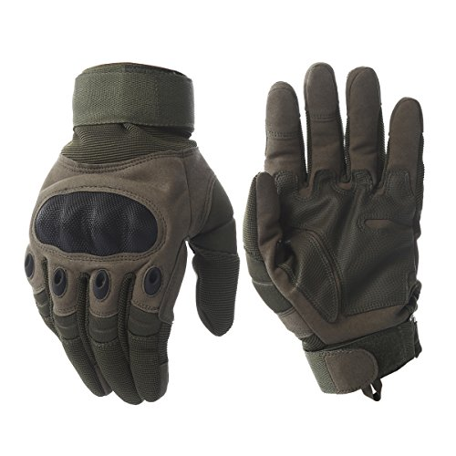 Tactical Army Military Rubber Hard Knuckle Outdoor Full Finger Gloves for Men Fit for Cycling Motorcycle Hiking Camping Powersports Airsoft Paintball (Army green, Medium)