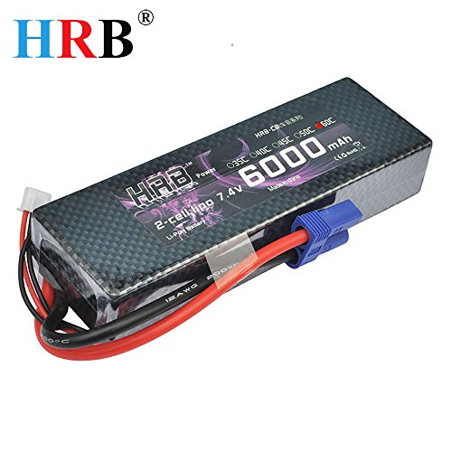 Racing Sprint Boat (HRB 2s 7.4v 6000mah 60c Li-Poly Lipo Battery Hard Case with EC5 Plug for RC Model Traxxas Car Losi Boat Truck Buggy)