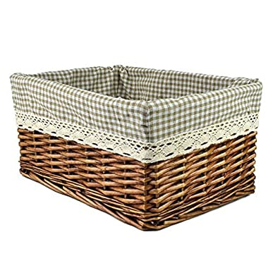 RURALITY Willow Wicker Storage Basket with Liner, Coffee Color, Large