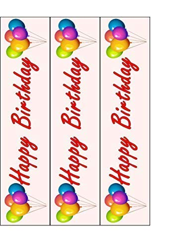 Feliz Cumpleaños Tarta Comestible Cinta Diseño Lateral Rosa ...