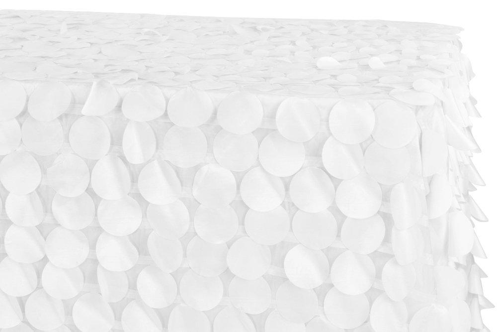 By ADD&SHIP Petal Circle Taffeta Tablecloth 90''x156'' Rectangular (White)