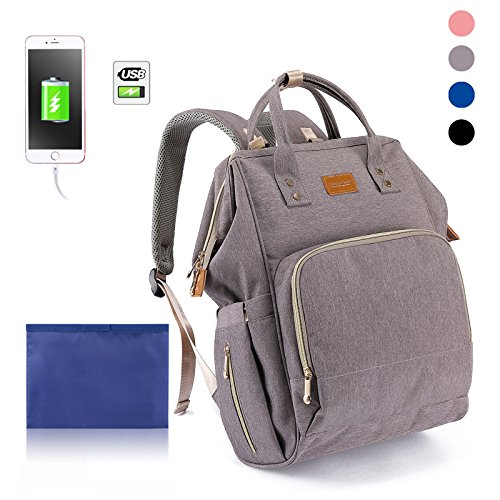 Diaper Bag Waterproof Travel Backpack for Baby Care with Stroller Straps  Changing Pad Quick Charge USB Port and Card Pockets Large Capacity Extra  Soft ...
