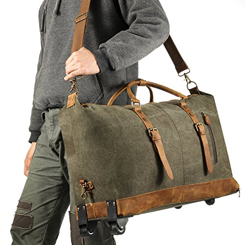 Kattee Luggage Rolling Duffel Bag Leather Trim Canvas Wheeled Carry-on Travel Bag 50L (Army Green) by Kattee (Image #6)