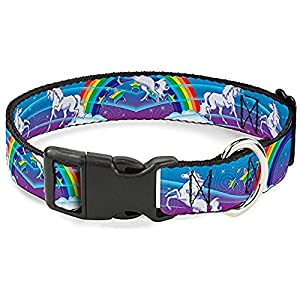 Buckle-Down Plastic Clip Collar – Unicorns/Rainbow Swirl Black