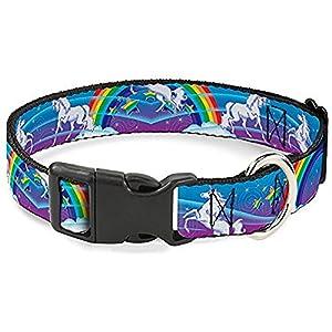 Buckle-Down Plastic Clip Collar – Unicorns/Rainbow Swirl Black