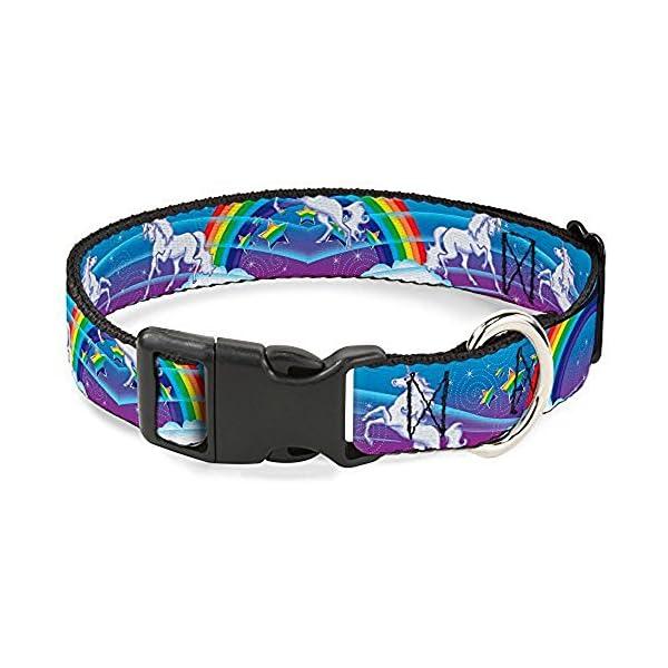 Buckle-Down Plastic Clip Collar - Unicorns/Rainbow Swirl Black 3