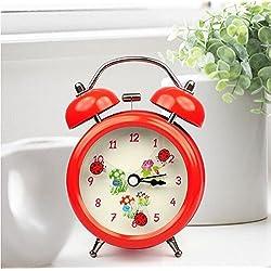 Ayzr Electronic Alarm Clock, Cute Student, Bell, Night Light, Timer, Mini Stereo Pointer Clock,Gules