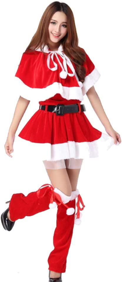 shuhong 4 Piezas para Mujer Traje Rojo De La Señorita Santa ...