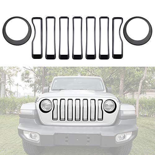 Sunluway Front Grille Inserts Guard Grill Trim Cover & Headlight Covers Ring Trim for 2018 2019 Jeep Wrangler JL Sport/Sports