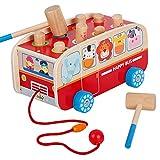 Wood Pounding Bench Pull Along Walking Bus Toys Set for Kids Toddlers Preschool Education Development