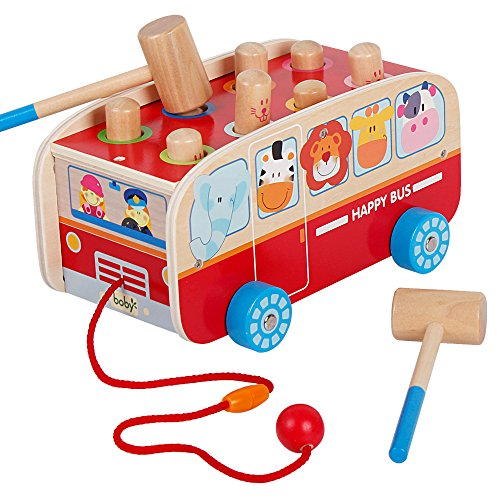 Wooden Pull Along Walking Bus Toys Pounding Bench Set for Kids Toddlers Preschool Education Development