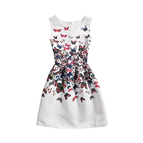 (Perfectme Children Clothing 2018 Girls Dress Summer Butterfly Floral Print Teenagers Dresses for Girls Designer Vestido 6-12Y,White butterfly2,11)