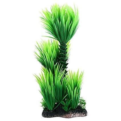 eDealMax Planta de hierba cerámica acuario Base Artificial Paisaje Submarino 28cm Altura Verde