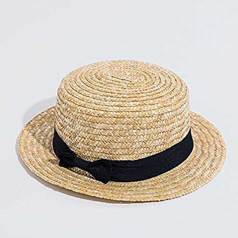 9cc95882 Amazon.com : ALWLj Sun Caps Ribbon Round Flat Top Straw Beach Hat Panama  Bowknot Hat Summer Hats for Women Straw Hat Snapback Gorras : Sports &  Outdoors