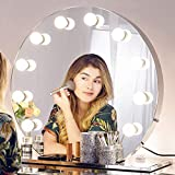 Chende Hollywood Mirror with Lights, Lighted Vanity Makeup Mirror for Vanity Table, LED Illuminated Cosmetic Mirror with LED Dimmable Bulbs, Stainless Steel Lighting Mirror (Round)