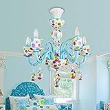 Color Glass Children's Room Chandelier 5W LED Warm White Light Princess Girl Bedroom Pendant Lamp ( Color : 5W warm light )